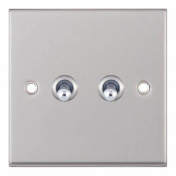 Satin Chrome Toggle Switch - 2 Gang 2 Way Double