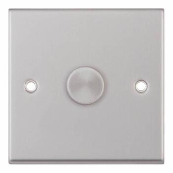 Satin Chrome & Grey Dimmer Switch - Single 1 x 400w