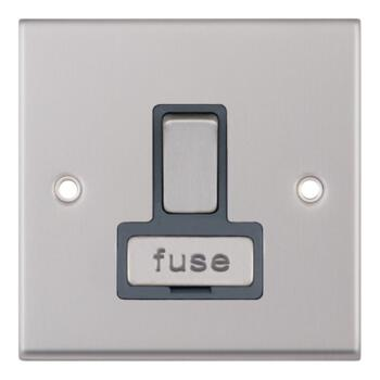Satin Chrome & Grey 13A Fused Spur Connection Unit - Switched