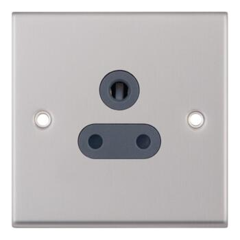 Satin Chrome & Grey Round Pin Socket - 5 Amp