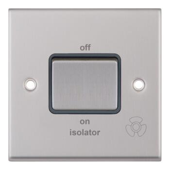 Satin Chrome & Grey TP Fan Isolator Switch - 3 Pole