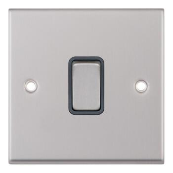 Satin Chrome & Grey 20A DP Isolator Switch - Without Neon