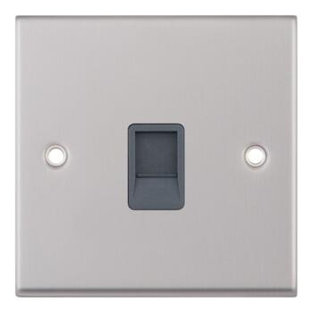 Satin Chrome & Grey Cat5e RJ45 Data Socket - Single 1 Gang
