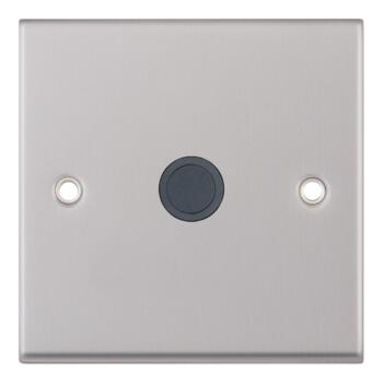 Satin Chrome & Grey 20A Flex Outlet Connection Plate - 1 Gang Single