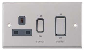 Satin Chrome & Grey Cooker Control Switch & Socket - Without Neon