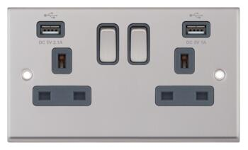 Satin Chrome & Grey Double Socket With USB Charger - 2 Gang With USB