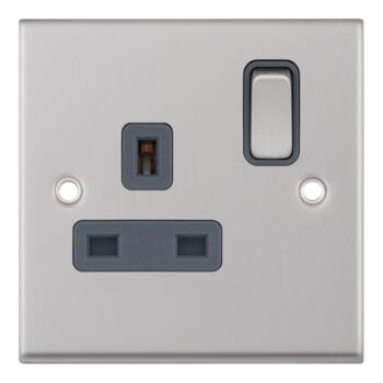 Satin Chrome & Grey Single Socket - Grey Insert 1 Gang
