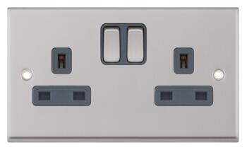 Satin Chrome Double Socket Single Pole - 1 Piece