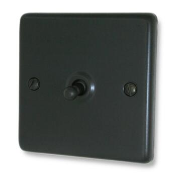 Matt Black Toggle Light Switch - Single - With Black Interior