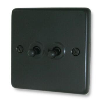 Matt Black Toggle Light Switch - Double - With Black Interior