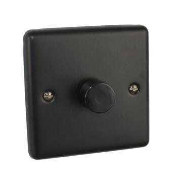 Matt Black Dimmer Switch - Single 400W - 1 Gang 2 Way