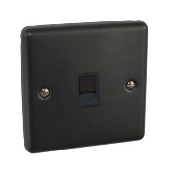 Matt Black RJ45 Cat5e Data Network Socket - Single