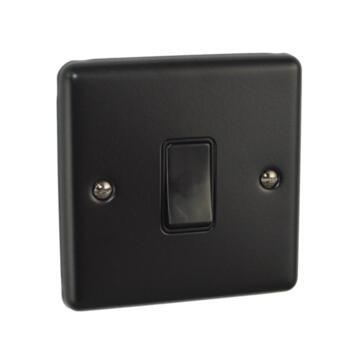 Matt Black Light Switch - Single - 1 Gang 2 Way