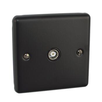 Matt Black TV / Satellite Socket Outlet - Single TV Socket - Co-ax