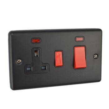 Matt Black Cooker Switch - With 13A Switched Socket & Neons