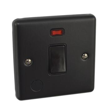 Matt Black 20A Double Pole Switch - With Neon