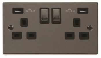 Black Nickel Ingot Socket - Double 2 Gang With USB