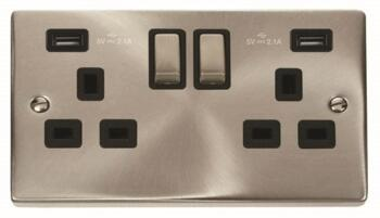 Satin Chrome Double Socket With USB Charger - Double 2 Gang With USB - Black