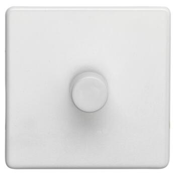 Screwless Concealed White Metal Dimmer Switch - Single 1 Gang 2 Way 60-400w