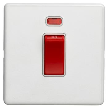 Screwless Concealed White Metal 45A Cooker / Shower Switch - 1 Gang With Neon