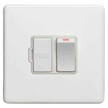 Screwless Concealed White Metal 13a Fused Spur - 13a Switched