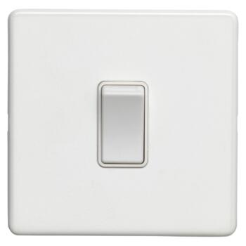 Screwless Concealed White Metal Light Switch - Single 1 Gang