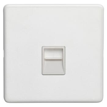 Screwless Concealed White Metal Phone Socket - Slave or Secondary