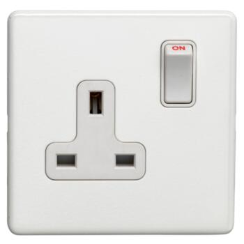 Screwless Concealed White Metal Single Switched Socket - 1 Piece