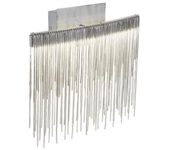 Memphis LED Wall Light, Satin Silver Finish With Chain Link Waterfall Dressing  - 6052SS Cool White 4000K