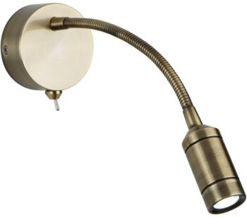 Switched LED Flexi Arm Wall Light Antique Brass Finish - 2256AB Warm White LED
