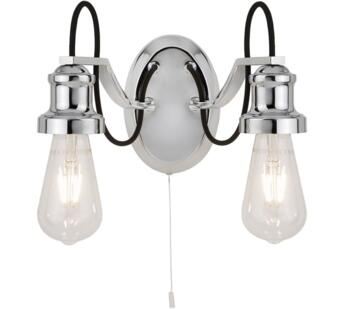 Olivia 2 Light Chrome Double Wall Light With Black Braided Fabric Cable  - 1062-2CC