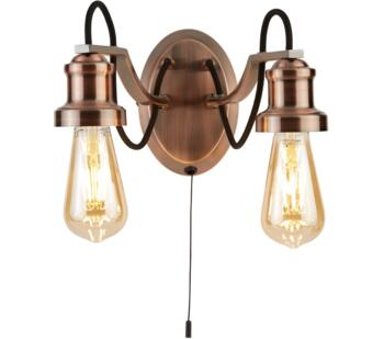 Olivia 2 Light Antique Copper Double Wall Light With Black Braided Fabric Cable  - 1062-2CU