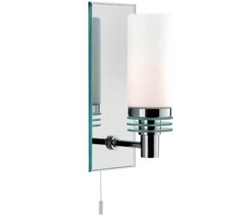 Lima 1 Light Chrome Bathroom Wall Light With Mirrored Backplate - 5611-1CC-LED