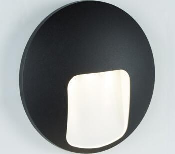 Outdoor LED Black Disc Wall Light  - 0543BK