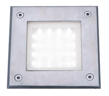 LED Recessed Square Walkover Light  Stainless Steel With White LED - 9909WH - 9909WH
