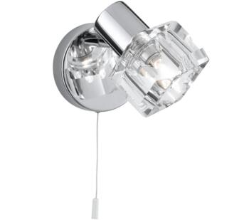 Triton 1 Light LED Switched Wall Spotlight Chrome Finish With Glass Shade  - 3761CC-LED