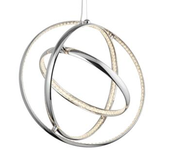 Rings LED Ceiling Pendant  Chrome Finish With Crystal Glass Trim - 5013-3CC - 5013-3CC