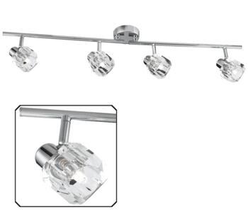 Triton 4 Light LED Split Bar Spotlight  Polished Chrome Finish With Glass Shades - 4764CC-LED - 4764CC-LED