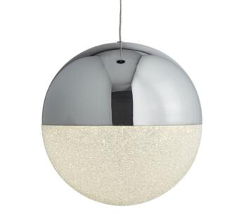 Marbles1 Light Globe LED Ceiling Pendant Light Chrome Finish With Crushed Ice Effect Shade - 5841CC