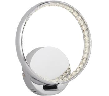 Rings LED Wall Light, Chrome Finish With Clear Crystal Rings - 3111CC