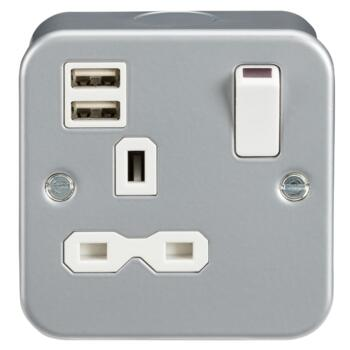 Metal Clad 13A 1G Switched Socket with Dual USB Charger IP20 (2.4A) MR9124  - Single 1 Gang