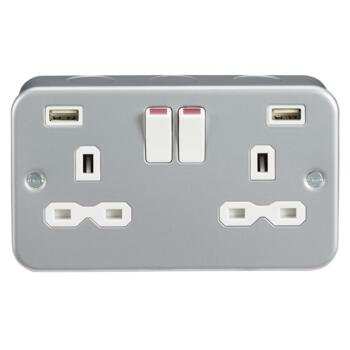 Metal Clad 13A 2G Switched Socket with Dual USB Charger (2.4A) - Double 2 Gang