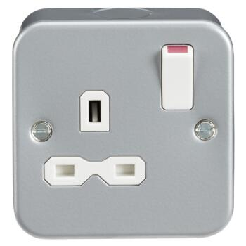 Metal Clad 13A 1G DP Switched Socket - Single 1 Gang