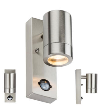 230V IP44 GU10 LED Stainless Steel Wall Light with PIR - WALL5LSS