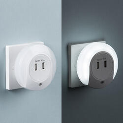 Plug in LED Night Light with Dual USB Charger Ports 5V DC 2.1A (shared) NL002  - NL002