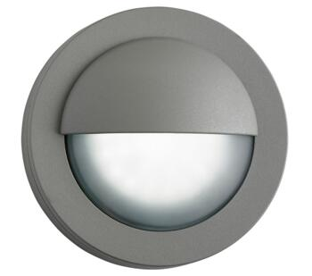 1 Light Outdoor LED Wall Light, Grey Finish With Frosted Glass Diffuser  - 1402GY