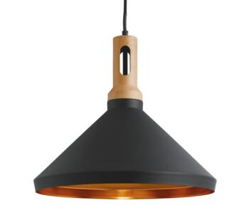 Cone 1 Light Ceiling Pendant Light  Black Finish Shade With Gold Inner  - 7051BK