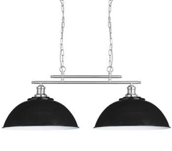 Black & Satin Silver 2 Light Ceiling Bar Pendant  - 0932-2BK