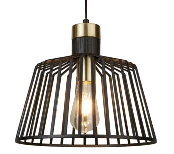 Bird Cage 1 Light Pendant Ceiling Light Black & Satin Brass Finish Cage - 9411BK