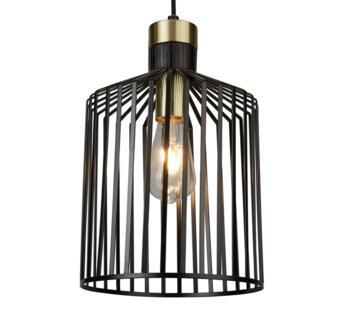 Bird Cage 1 Light Pendant Ceiling Light  Black & Satin Brass Finish Cage - 9413BK